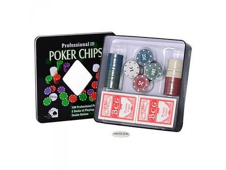 Настольная игра 3896A покер фишки карты-2 колоды в кор-ке (металл) 20-20-5 см, фото 2