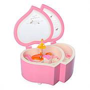 Шкатулка X12527P заводная, сердце, 15см, муз,свет, на бат(таб), в кор-ке,12,5-15,5-7,5см (Розовая)