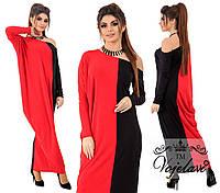 Длинное свободное женское платье. Красное, 4 цвета. Р-р: 42-46.