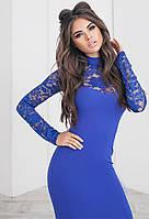 Трикотажное стрейчевое платье с гипюром. Синее, 6 цветов. Р-ры: 42, 44, 46.