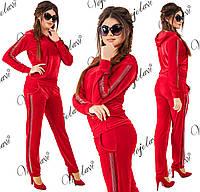 Велюровый спортивный костюм со стразами. Красный, 4 цвета. Р-ры: 42, 44, 46.