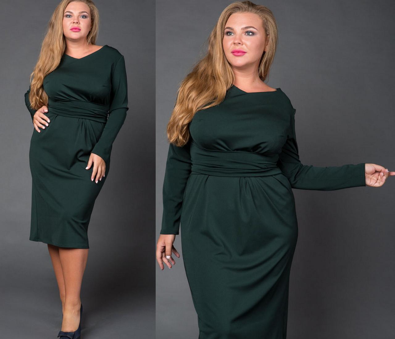 Трикотажное Платье с Поясом. Тёмно-зелёное 02b126fed307d