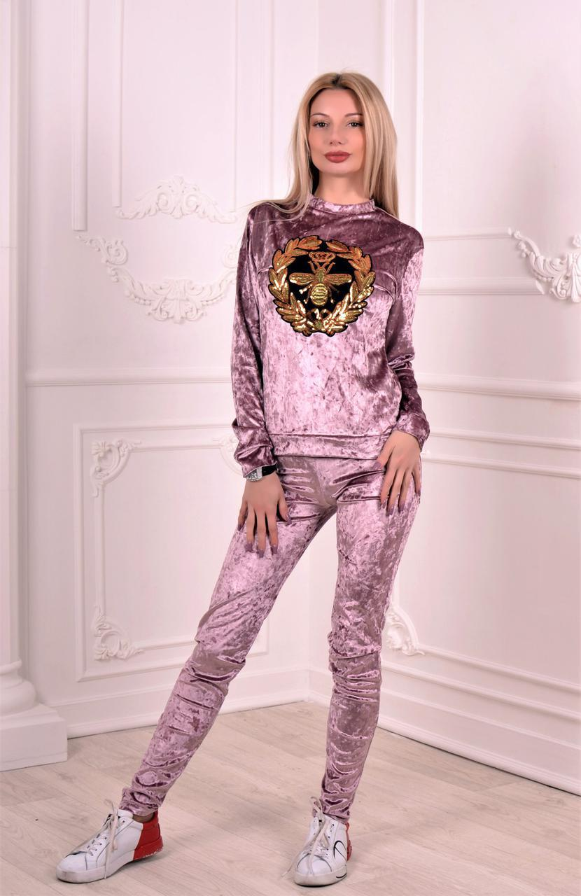 e5bc9a808e9 Велюровый костюм с пайетками. Розовый