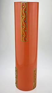 """Ваза стеклянная ручной работы """"Оранжевый узор"""" (Цилиндр узкий средний) ZA-1109"""