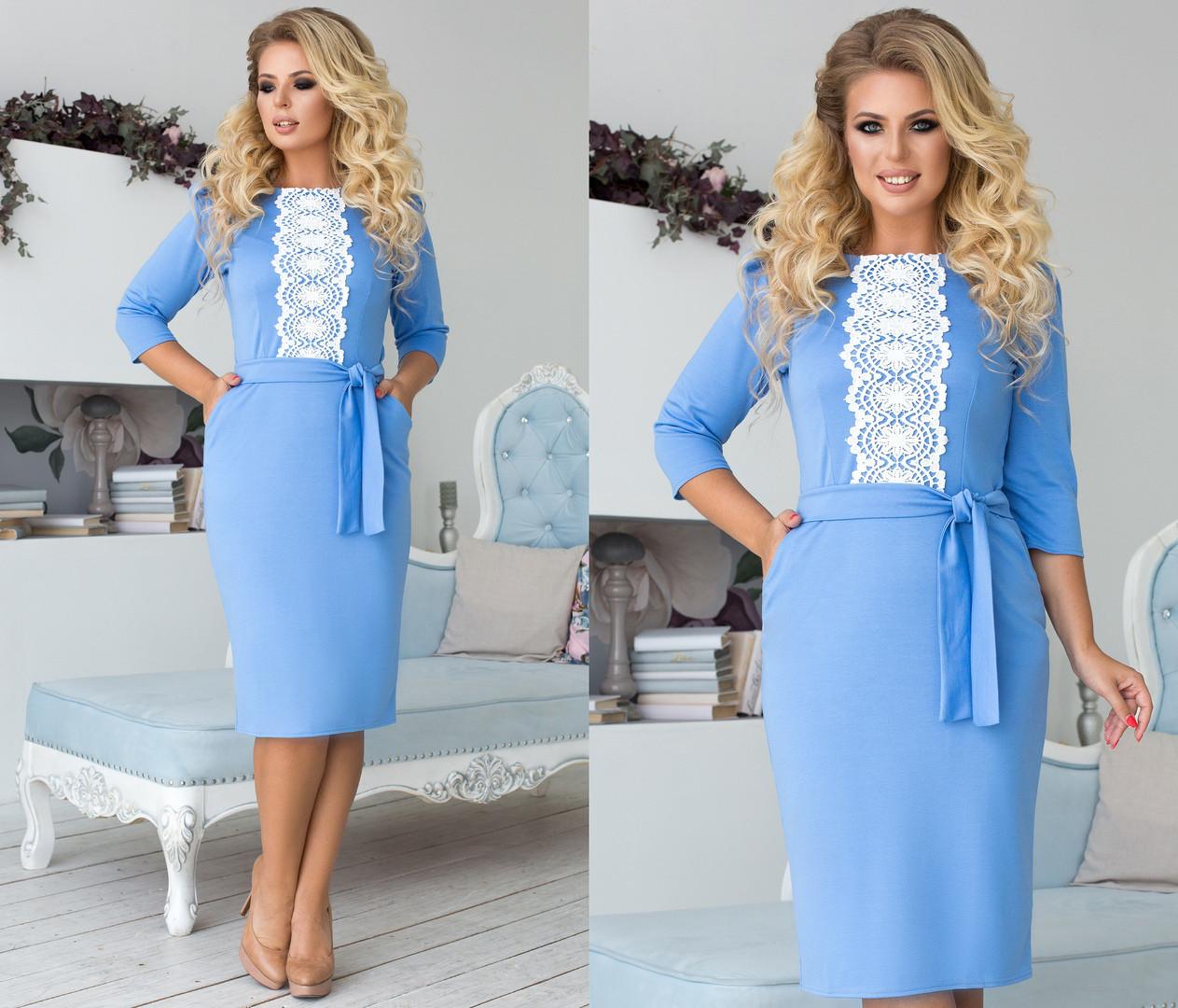 Приталенное платье  больших размеров 48+ спереди украшено кружевом  / 6 цветов арт 6685-93