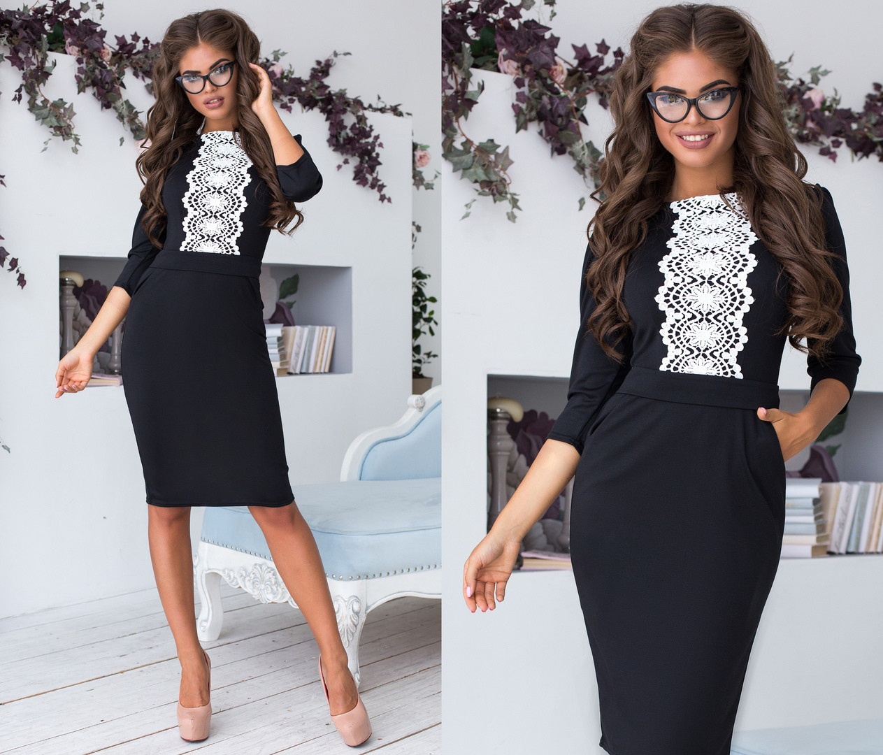 Приталенное платье миди ,  спереди украшено кружевом  / 6 цветов арт 6686-93