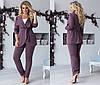 Комплект ТРОЙКА больших размеров 48+ майка, брюки и пиджак на запах  / 4 цвета  арт 6687-93, фото 2