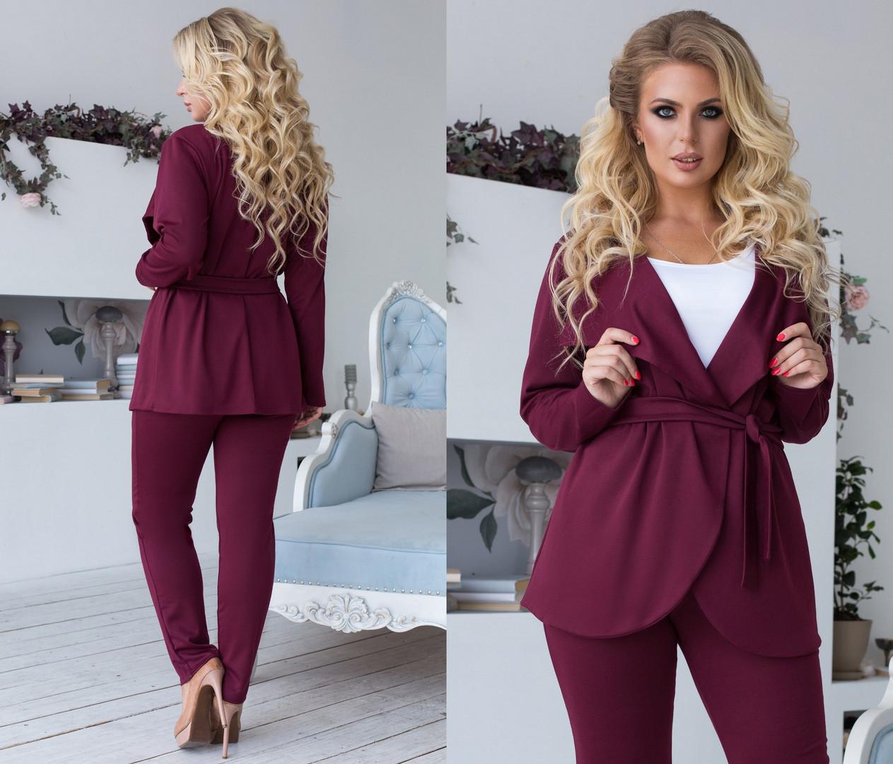 Комплект ТРОЙКА больших размеров 48+ майка, брюки и пиджак на запах  / 4 цвета  арт 6687-93