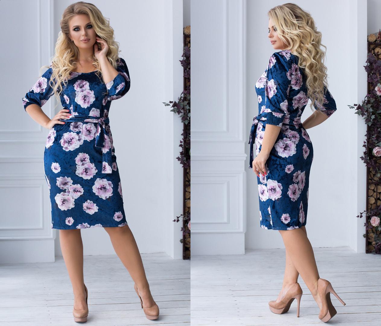 Велюровое платье больших размеров 48+  приталенного кроя с принтом  / 2 цвета арт 6689-93