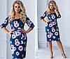 Велюровое платье больших размеров 48+  приталенного кроя с принтом  / 2 цвета арт 6689-93, фото 4