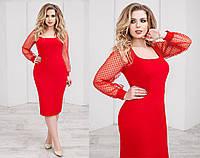 Красивое платье с сеточкой. Красное, 2 цвета. Р-ры: 48,50,52,54.