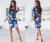 Велюровое платье приталенного кроя с принтом  / 2 цвета арт 6690-93, фото 4