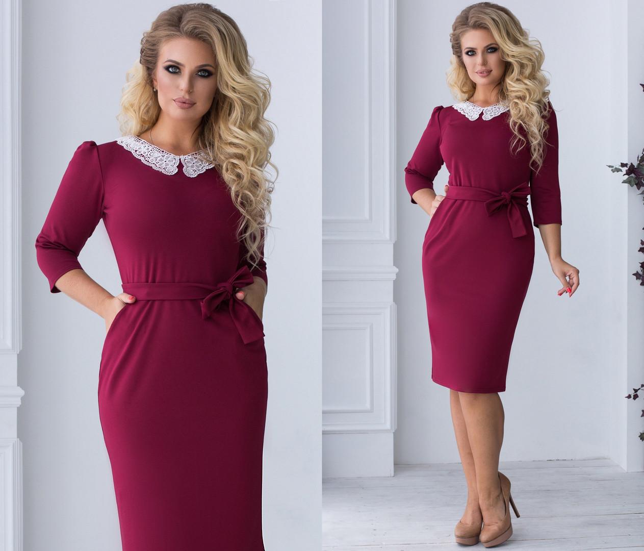 Приталенное платье больших размеров 48+ с карманами, украшено кружевным воротником  / 4 цвета арт 6691-93
