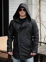 Куртка мужская косуха удлиненная. Чёрная. Р-ры: 44, 46, 48.
