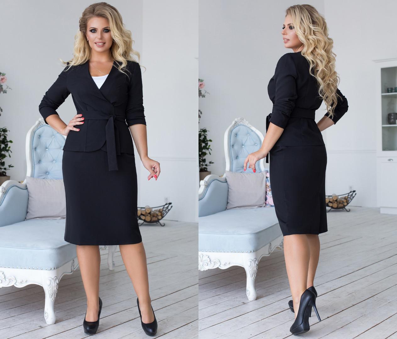 Комплект ТРОЙКА больших размеров 48+ -  майка, юбка и пиджак на запах  / 4 цвета  арт 6693-93