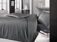Комплект постельного белья Clasy Сатин Жаккард Страйп 200х220 Antrasit RB-AC-00309