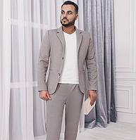 Мужской костюм с пиджаком. Светло-серый, 3 цвета.