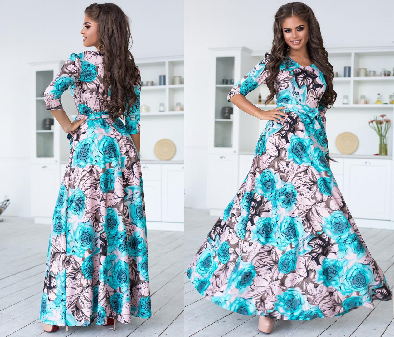 Длинное платье с расклешенной юбкой, яркий принт, рукав три четверти  / 3 цвета арт 6707-93