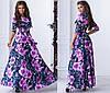 Длинное платье с расклешенной юбкой, яркий принт, рукав три четверти  / 3 цвета арт 6707-93, фото 3