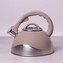 Чайник из нержавеющей стали со свистком и стеклянной крышкой на 3 л Kamille a0686A, фото 2