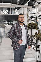 Мужской костюм, пиджак с карманами. В клеточку, 4 цвета.
