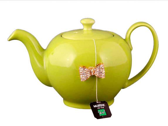 Заварочный чайник оливковый с бантиком на 600мл Е-декор 470-127, фото 2