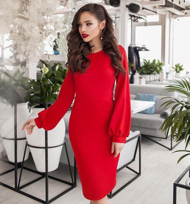 fd0690c4a16 Женское Платье с Длинным Рукавом. Красное