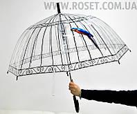 Купольный Зонт трость прозрачный -  Попугай, фото 1