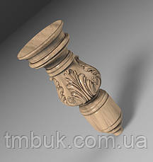 Ножка круглая точеная з резной цветочной композицией из дерева. Для кровати, шкафа, тумбы. 150 мм, фото 2