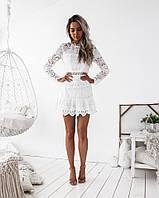 Гипюровое платье женское белое узорами , фото 1
