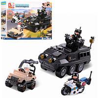 Конструктор SLUBAN M38-B0655, полиция, транспорт,джип, мотоцикл, 3 штфигурки, 324 деталей .