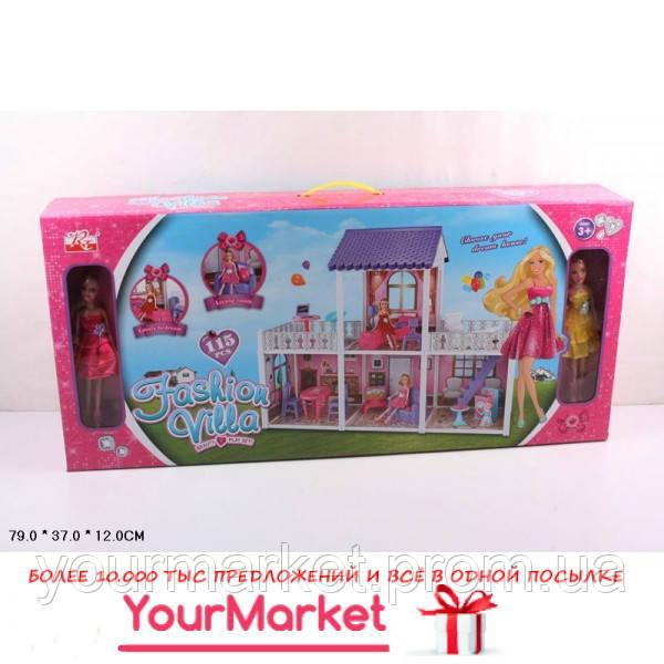 Домик 972  2 этажа, кукла,диван,кровать,тумбы,лампа,тв,балкон,стир.маш
