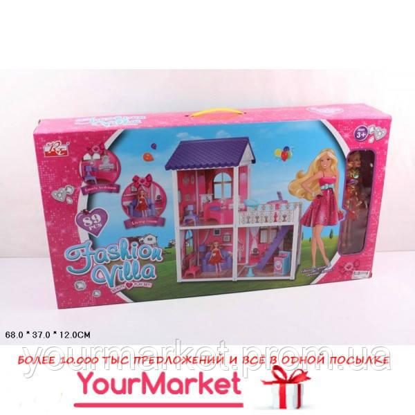 Домик 971  2 этажа, кукла,диван,кровать,тумбы,лампа,тв,балкон,стир.маш