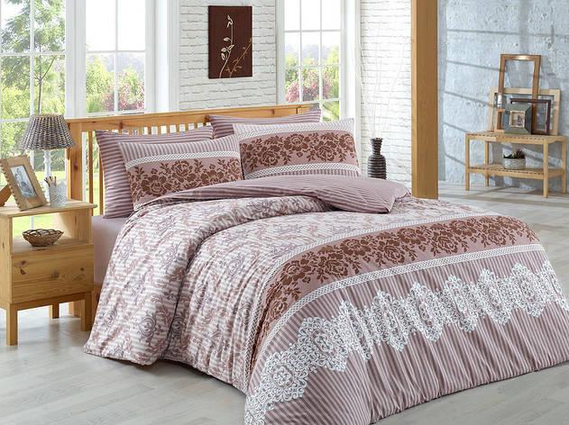 Комплект постельного белья Majoli Irene - Brown двуспальный евро, фото 2
