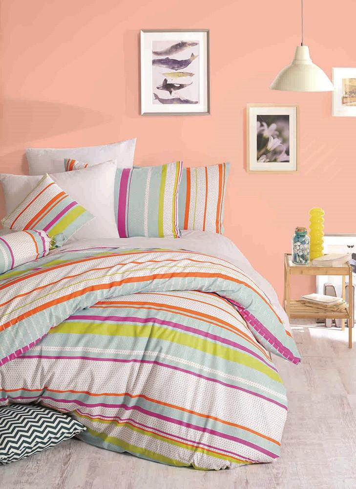 Комплект постельного белья Majoli Line - Green двуспальный евро