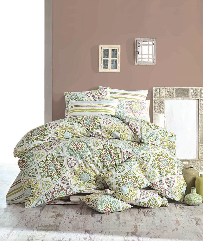 Комплект постельного белья Majoli Ornament - Green двуспальный евро
