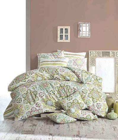 Комплект постельного белья Majoli Ornament - Green двуспальный евро, фото 2