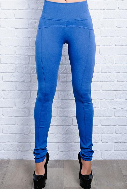 Модные леггинсы - джеггинсы Лесли голубого цвета