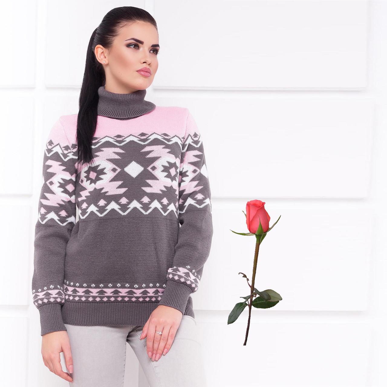 Полушерстяной женский свитер с воротником под горло  М  777557   Серо-розовый