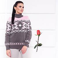 Полушерстяной женский свитер с воротником под горло  М  777557   Серо-розовый, фото 1