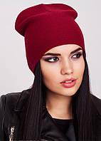 Стильная шапка цвета бордо Kelly