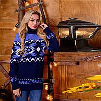 Полушерстяной женский свитер с воротником под горло  М  777557 Синий-голубой, фото 1