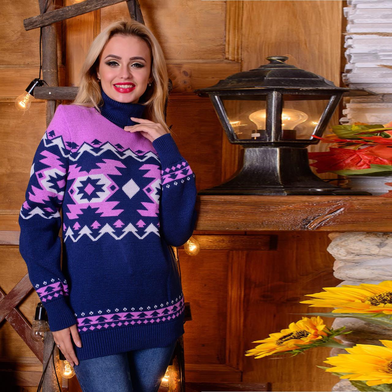 Полушерстяной женский свитер с воротником под горло  М  777557 Синий-розовый