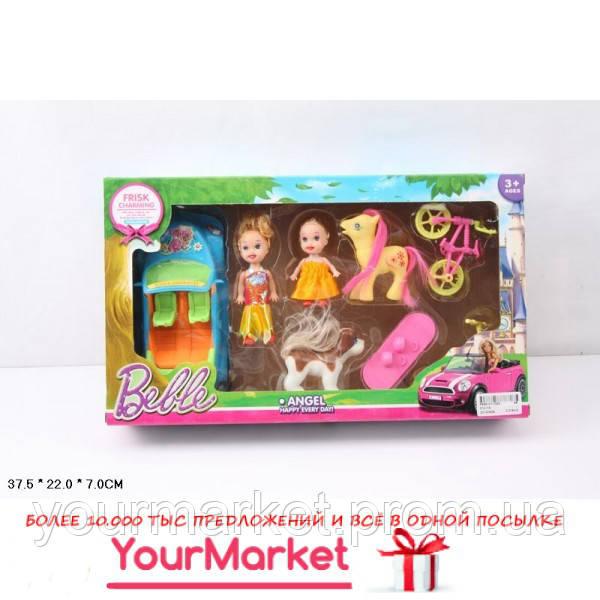Кукла маленькая 012-1A  с куколкой, машинкой, велосипедом, пони, собач