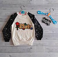 Свитшот детский кофта толстовка теплая на девочку с паетками  2- 3 года рост 92-98 см Турция Poni Kids