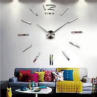 Часы большие 3-D серебро зеркальные  палочками от 60 см до 90 см