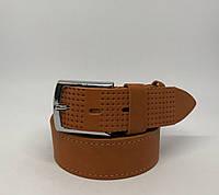 Ремень мужской кожаный Masco 15527 рыжий реплика