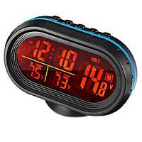 Часы автомобильные VST-7009V с индикацией заряда АКБ (Вольтметр), и двумя термо датчиками (3803)