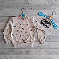 Свитшот детский кофта толстовка теплая на девочку с модным принтом  1-8 лет 86-128 см Турция Stella Kids