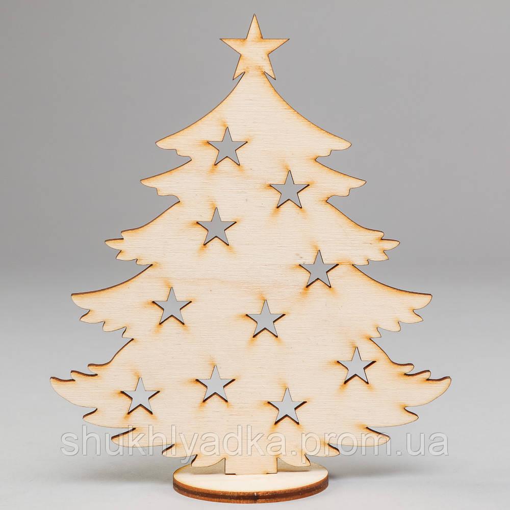 Новогодняя игрушка Елочка со звездочками на подставке_деревянная заготовка_Новый год
